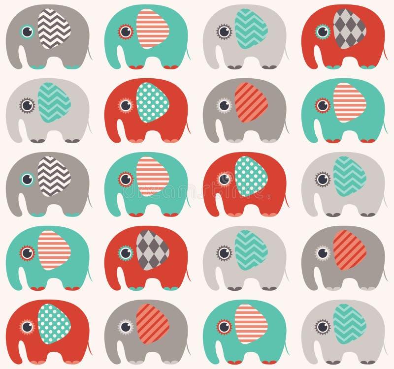 Modelo inconsútil del elefante ilustración del vector