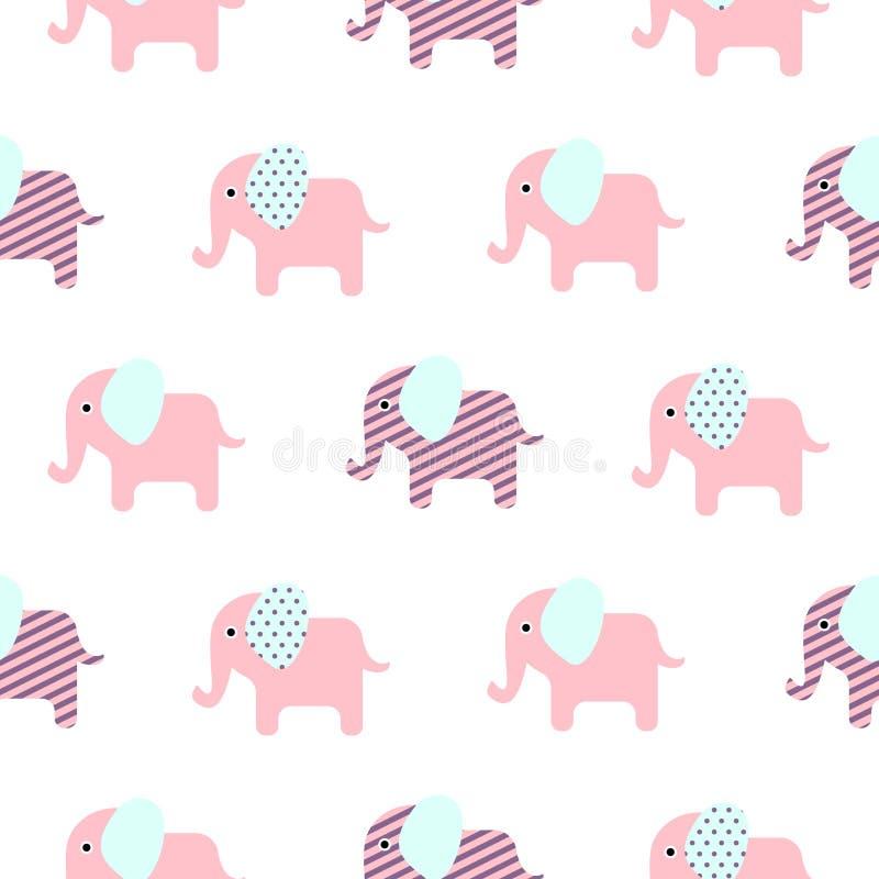 Modelo inconsútil del elefante del bebé lindo de la historieta ilustración del vector
