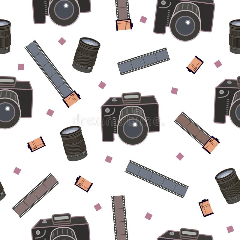 Modelo inconsútil del equipo de la foto, decoración para el papel de embalaje, fondo, aviadores y carteles para los fotógrafos stock de ilustración