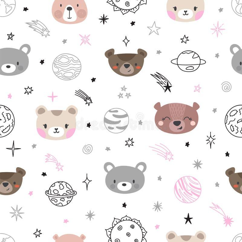 Modelo inconsútil del espacio lindo con los osos de la historieta Impresión abstracta Dé el fondo exhausto del cuarto de niños co stock de ilustración
