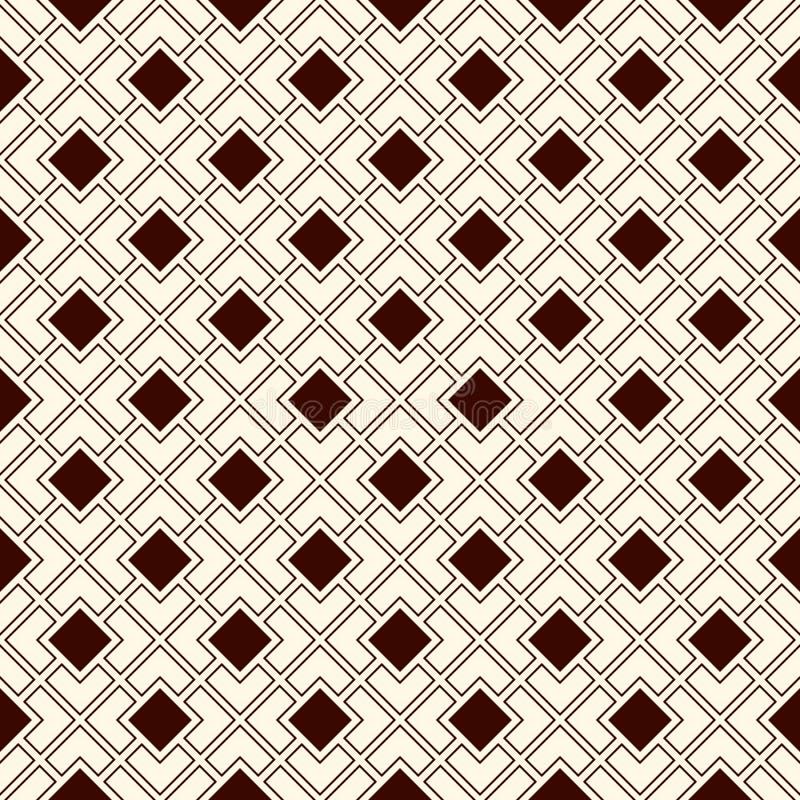 Modelo inconsútil del esquema con las figuras geométricas Fondo abstracto de cadena cuadrado diagonal repetido Estilo moderno stock de ilustración