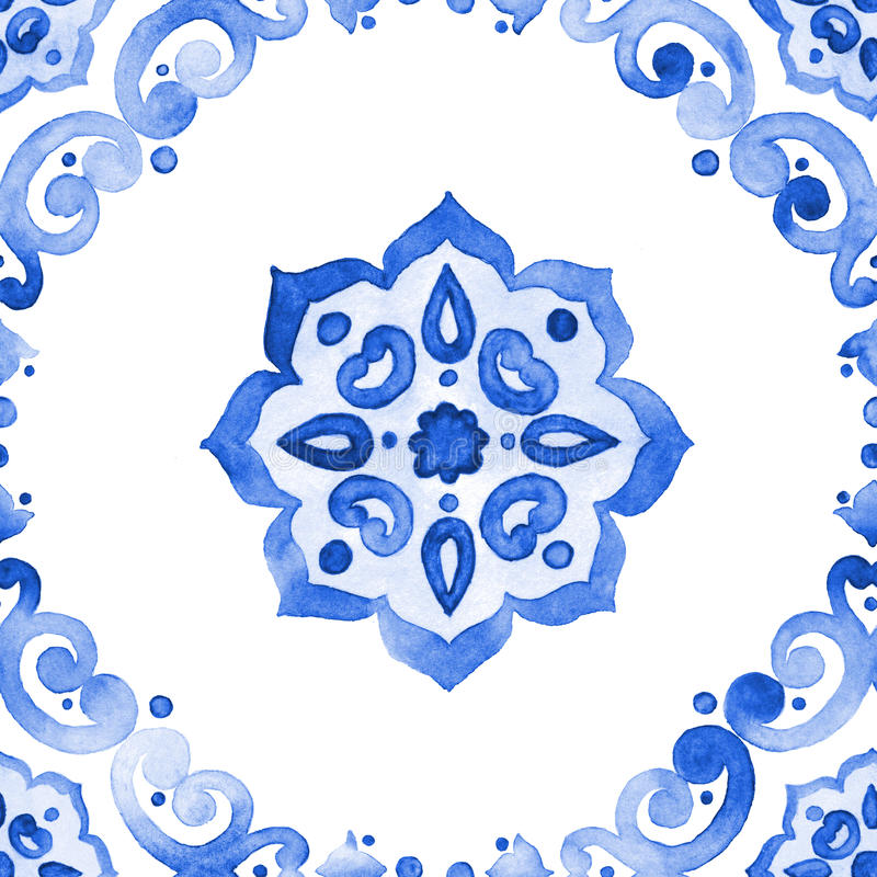 Modelo inconsútil del estilo azul de la cerámica de Delft Motivos holandeses imagen de archivo