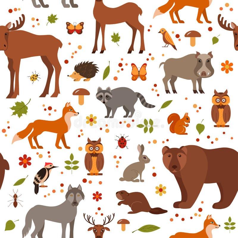 Modelo inconsútil del estilo de los animales planos del bosque stock de ilustración