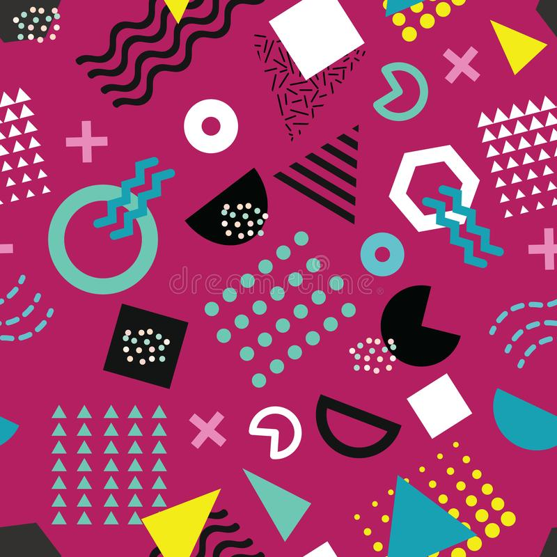 Modelo inconsútil del estilo de moda de Memphis con formas geométricas juguetonas en fondo púrpura ilustración del vector