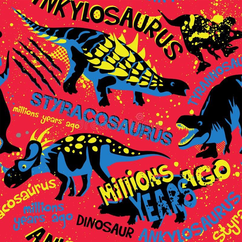 Modelo inconsútil del estilo del Grunge con Dino en fondo rojo Fondo para las camisetas, el papel, las materias textiles y la tel stock de ilustración
