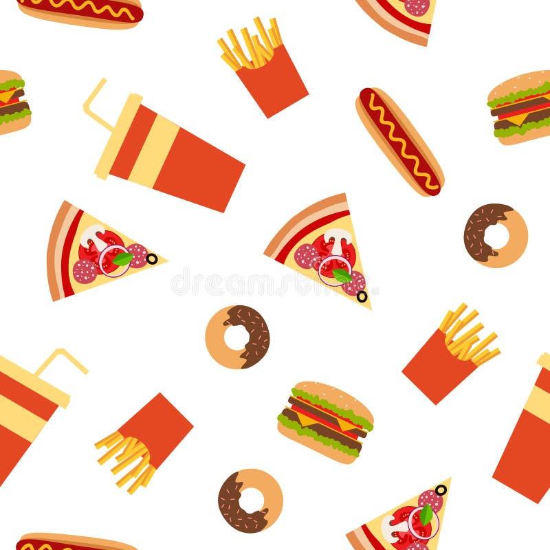 Modelo inconsútil del estilo plano de los alimentos de preparación rápida stock de ilustración