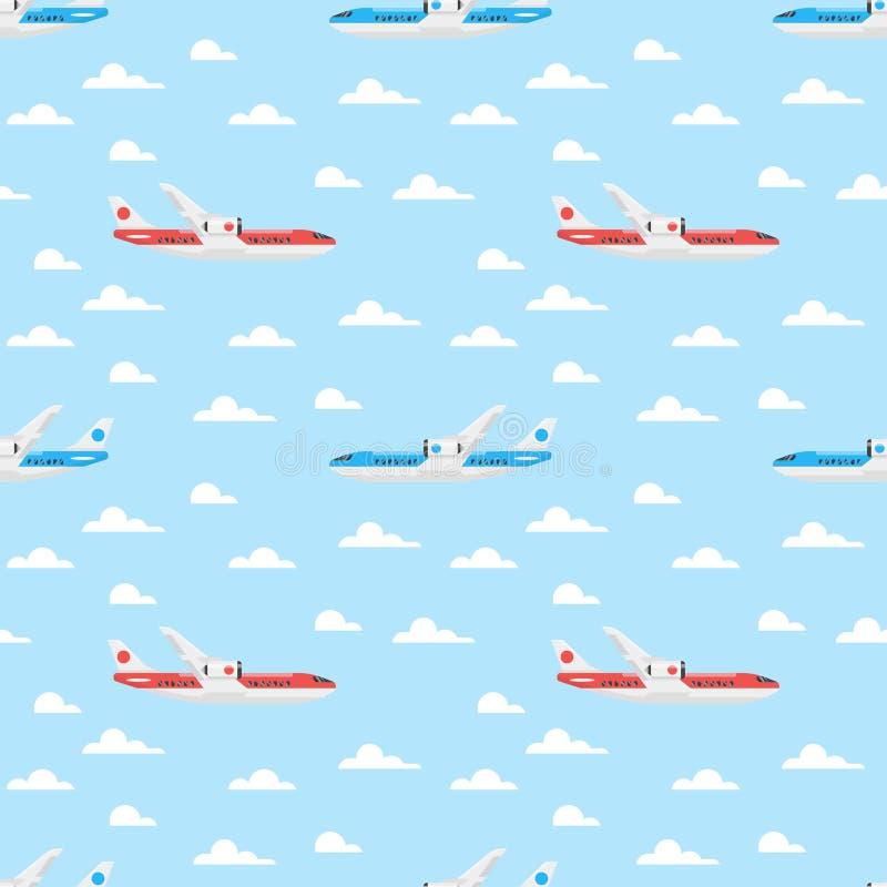 Modelo inconsútil del estilo plano del vector con el avión libre illustration