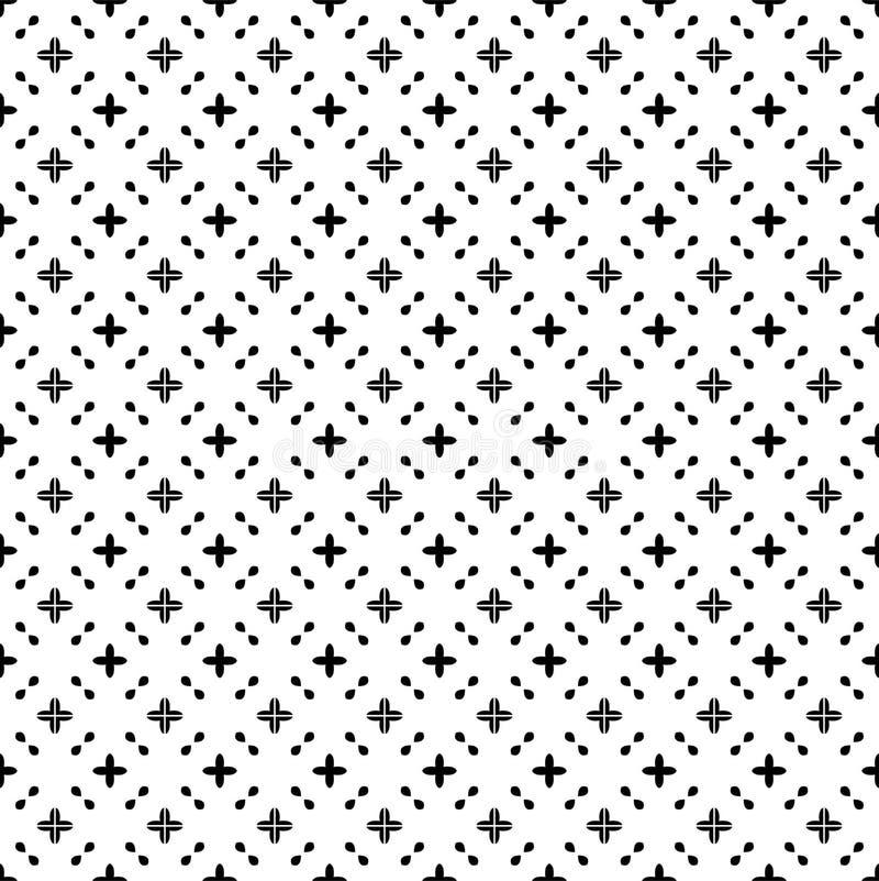 Modelo inconsútil del extracto blanco y negro del vector con la rejilla, formas del diamante, estrellas, Rhombus, enrejado, tejas libre illustration