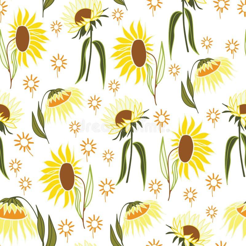 Modelo inconsútil del extracto de la flor del girasol con el fondo blanco stock de ilustración