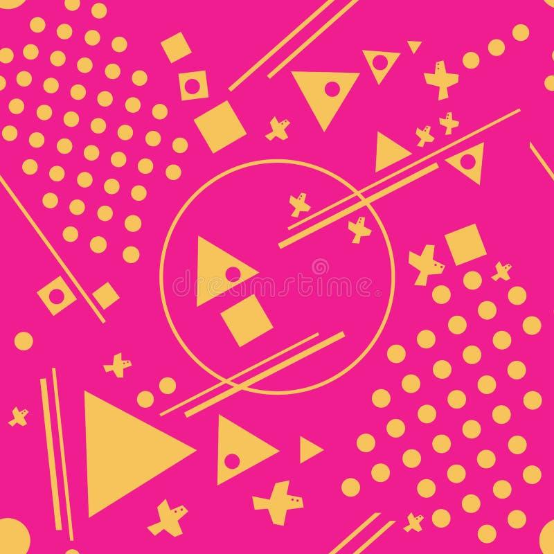 Modelo inconsútil del extracto del vector con los círculos amarillos, triángulos, líneas, puntos, pájaros geométricos ilustración del vector