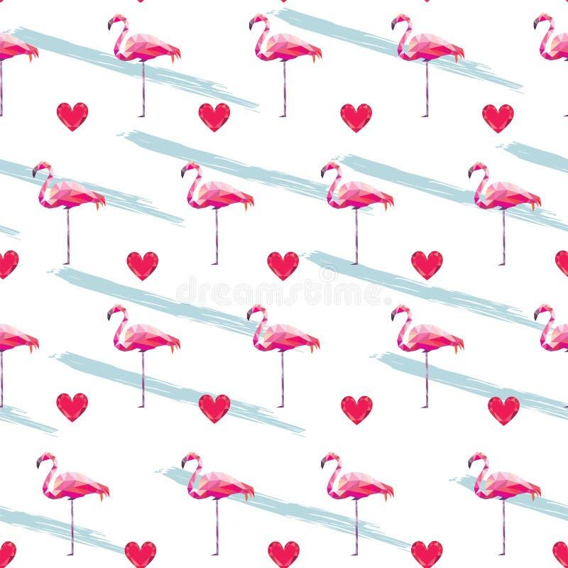 Modelo inconsútil del flamenco Ejemplo del modelo del corazón stock de ilustración