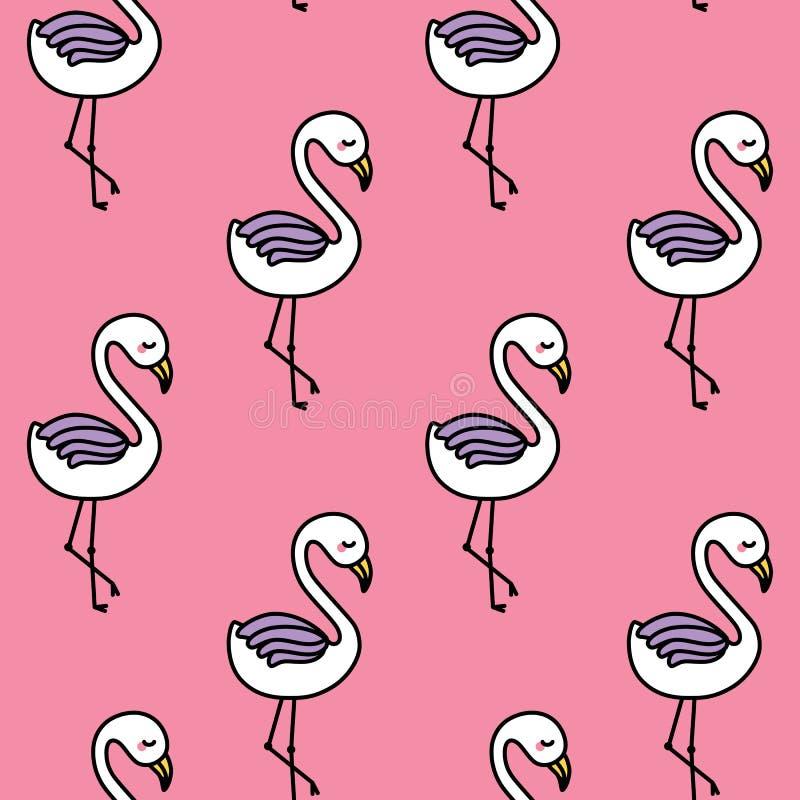 Modelo inconsútil del flamenco lindo con el fondo rosado stock de ilustración