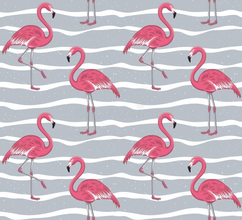 Modelo inconsútil del flamenco rosado stock de ilustración