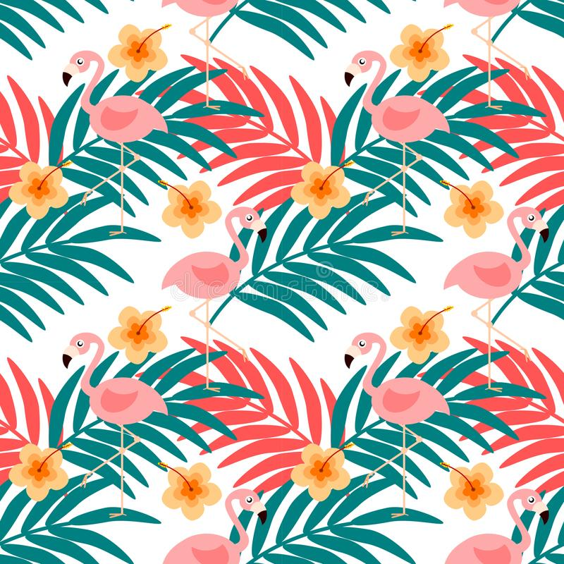 Modelo inconsútil del flamenco y de la flor del verano stock de ilustración