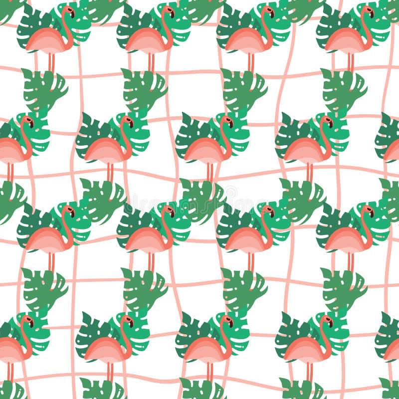 Modelo inconsútil del flamenco y de las hojas de palma La mano dibujada stylen completamente el fondo Ejemplo tropical del verano libre illustration