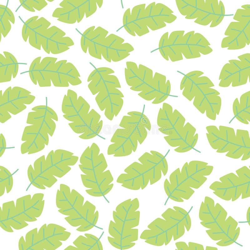 Modelo inconsútil del fondo blanco en colores pastel del vector con las hojas coloridas tropicales del monstera Papel pintado flo libre illustration