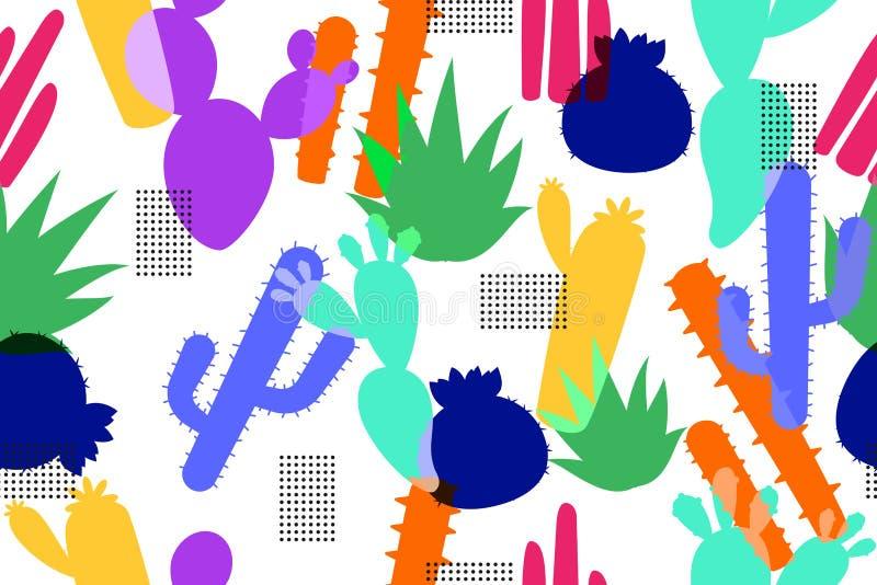 Modelo inconsútil del fondo colorido del cactus en el elemento de moda del diseño del inconformista libre illustration