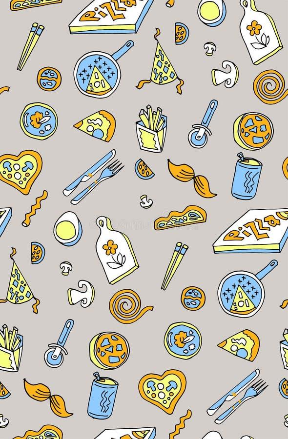 Modelo inconsútil del fondo de la pizza Arte del vector y albahaca de la comida stock de ilustración