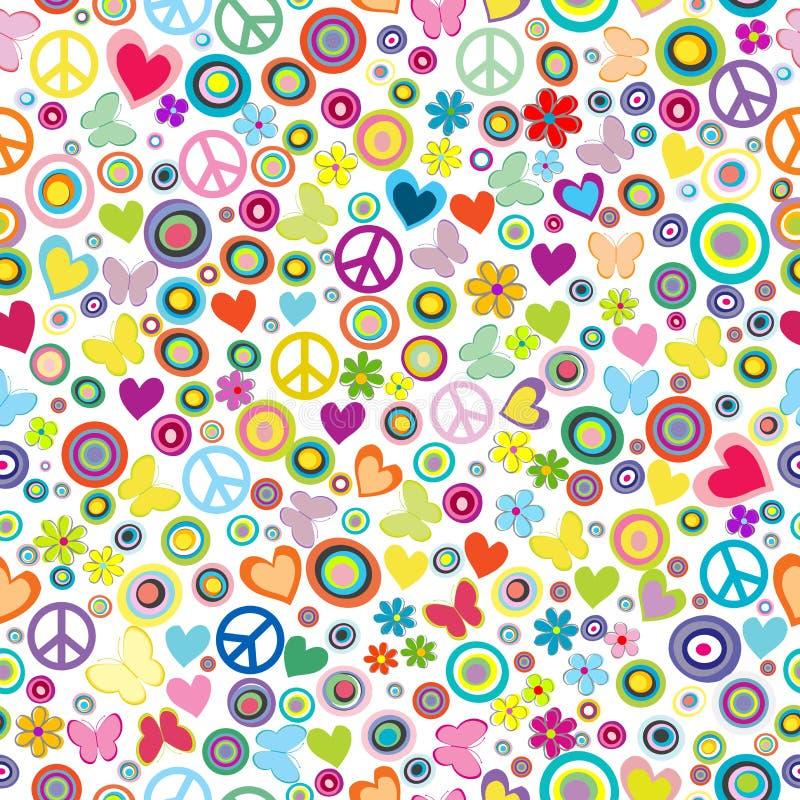 Modelo inconsútil del fondo del flower power con las flores, sig de la paz stock de ilustración