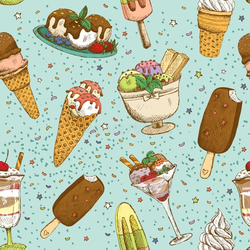 Modelo inconsútil del fondo del helado ilustración del vector