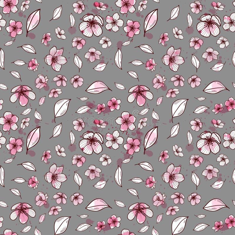 Modelo inconsútil del fondo del flor rosado de Sakura o de la cereza floreciente japonesa simbólica de la primavera en un al azar libre illustration