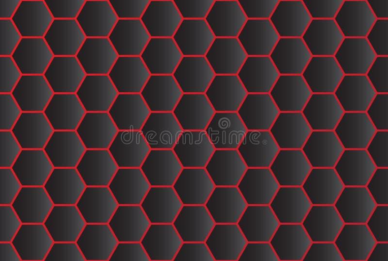 Modelo inconsútil del fondo negro abstracto del hexágono stock de ilustración