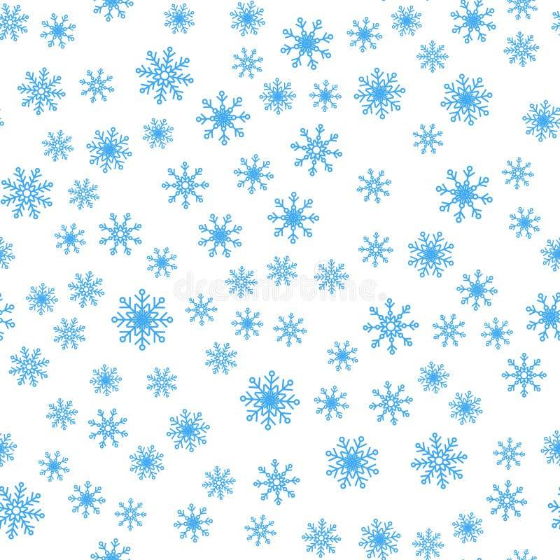 Modelo inconsútil del fondo del vector de los copos de nieve del invierno ilustración del vector