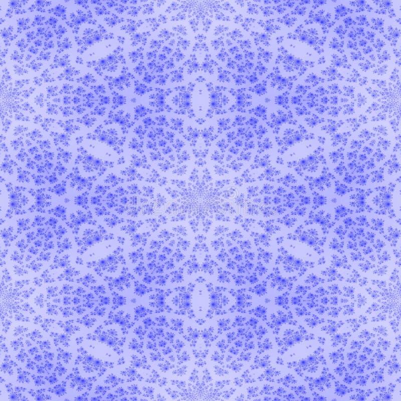 Modelo inconsútil del fractal floral blanco azul del copo de nieve ilustración del vector