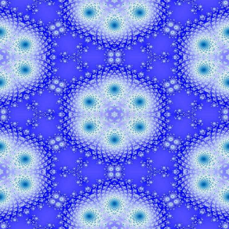Modelo inconsútil del fractal floral blanco azul del copo de nieve libre illustration