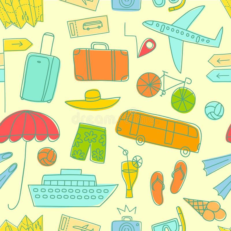 Modelo inconsútil del garabato colorido de las vacaciones de verano stock de ilustración