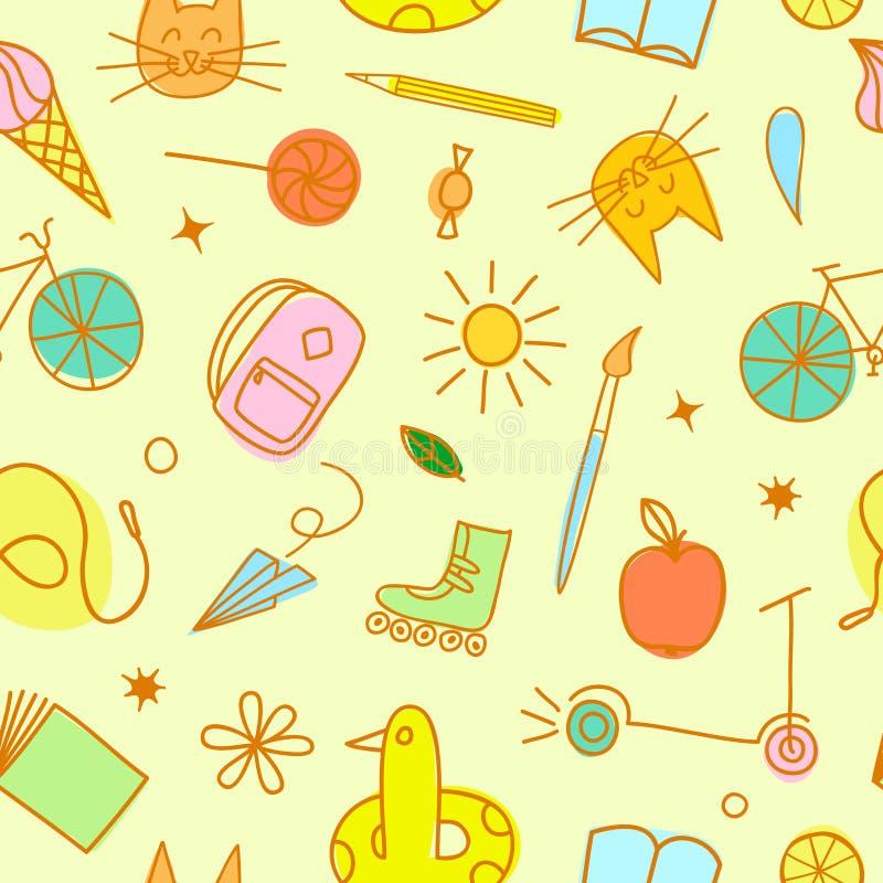 Modelo inconsútil del garabato colorido del tema de la niñez ilustración del vector