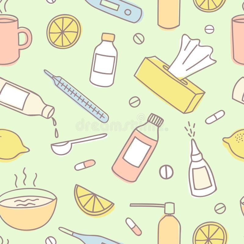 Modelo inconsútil del garabato colorido del tratamiento de la gripe stock de ilustración