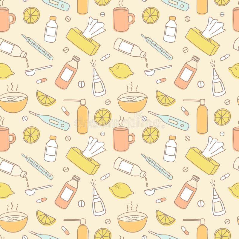 Modelo inconsútil del garabato colorido del tratamiento de la gripe libre illustration