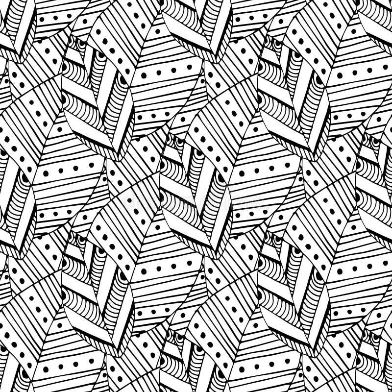 Modelo inconsútil del garabato con las hojas étnicas Muestra creativa de la materia textil de la primavera o diseño de empaquetad ilustración del vector