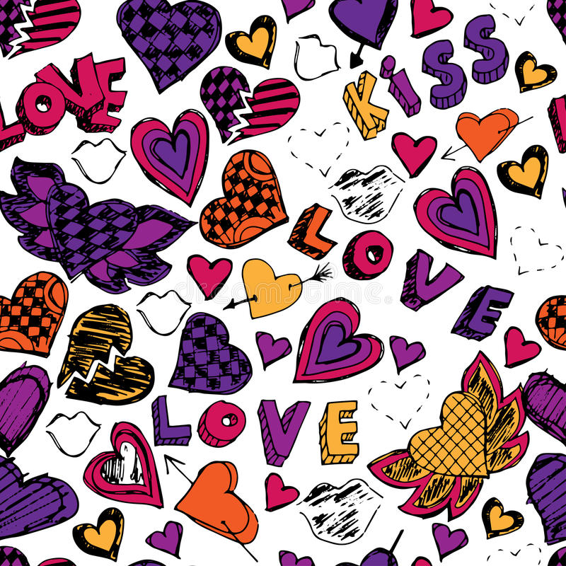 Modelo inconsútil del garabato con los corazones, el amor y los besos Mano drenada stock de ilustración