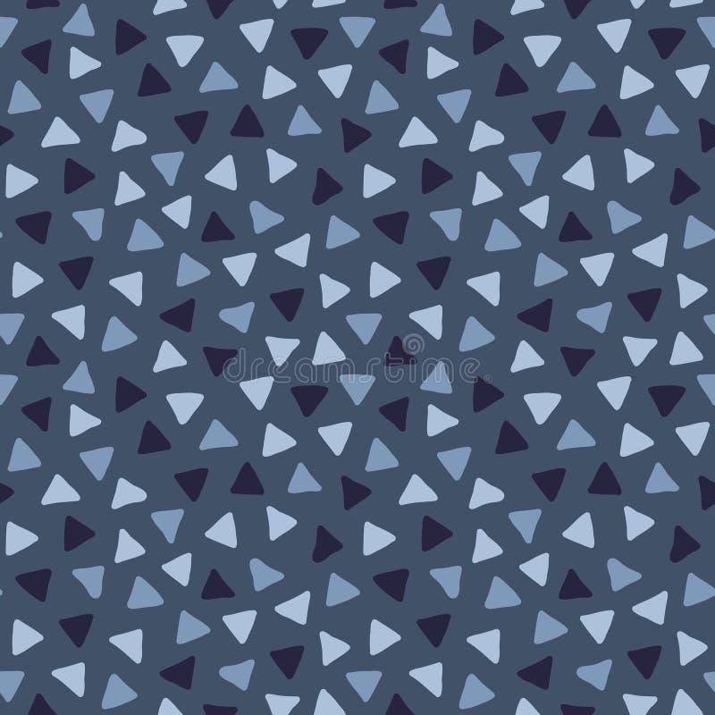 Modelo inconsútil del garabato exhausto del vector de la mano con los triángulos dispersados stock de ilustración