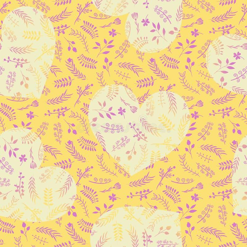 Modelo inconsútil del garabato romántico adornado floral con los corazones stock de ilustración