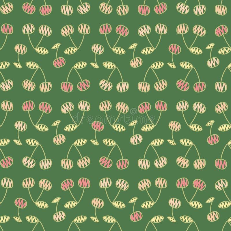 Modelo inconsútil del garabato del vector con las cerezas rosadas en fondo verde libre illustration