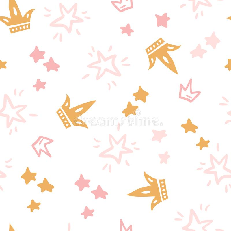 Modelo inconsútil del garabato del vector con las estrellas, coronas Color rosado IL libre illustration