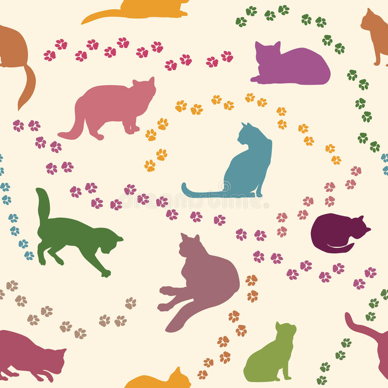 Modelo inconsútil del gato Acaricia el fondo libre illustration