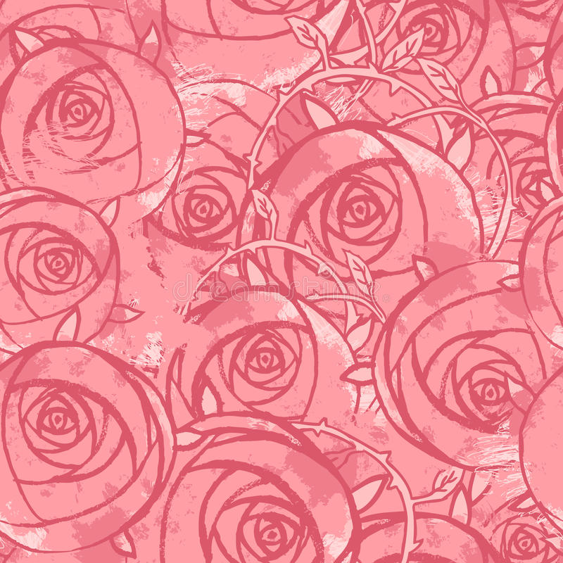 Modelo inconsútil del grunge floral rosado de la boda del vector stock de ilustración