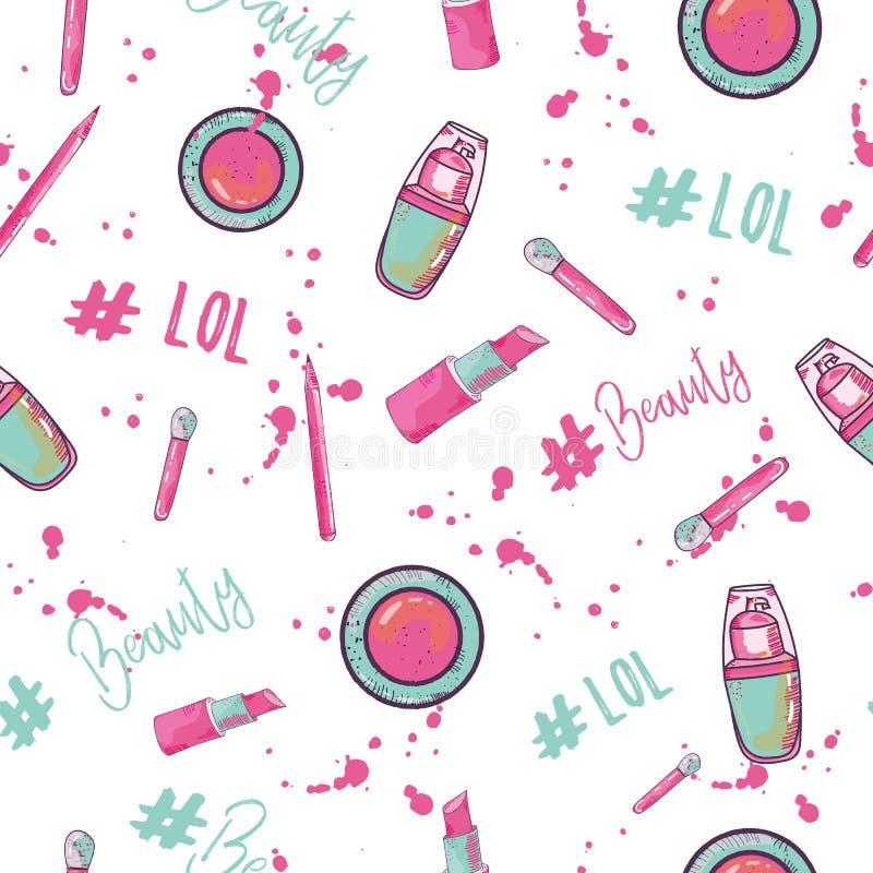 Modelo inconsútil del hashtag de la belleza con los cosméticos para el bloger Diseño de la colección del encanto stock de ilustración