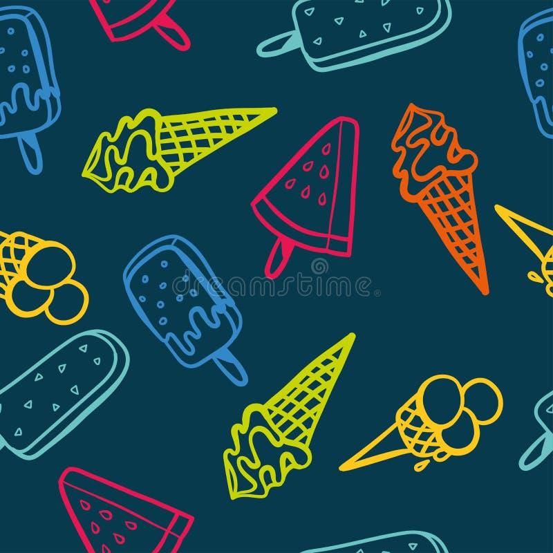 Modelo inconsútil del helado con los colores de neón - textura del fondo, grandes inconsútiles para las telas temáticas del veran stock de ilustración