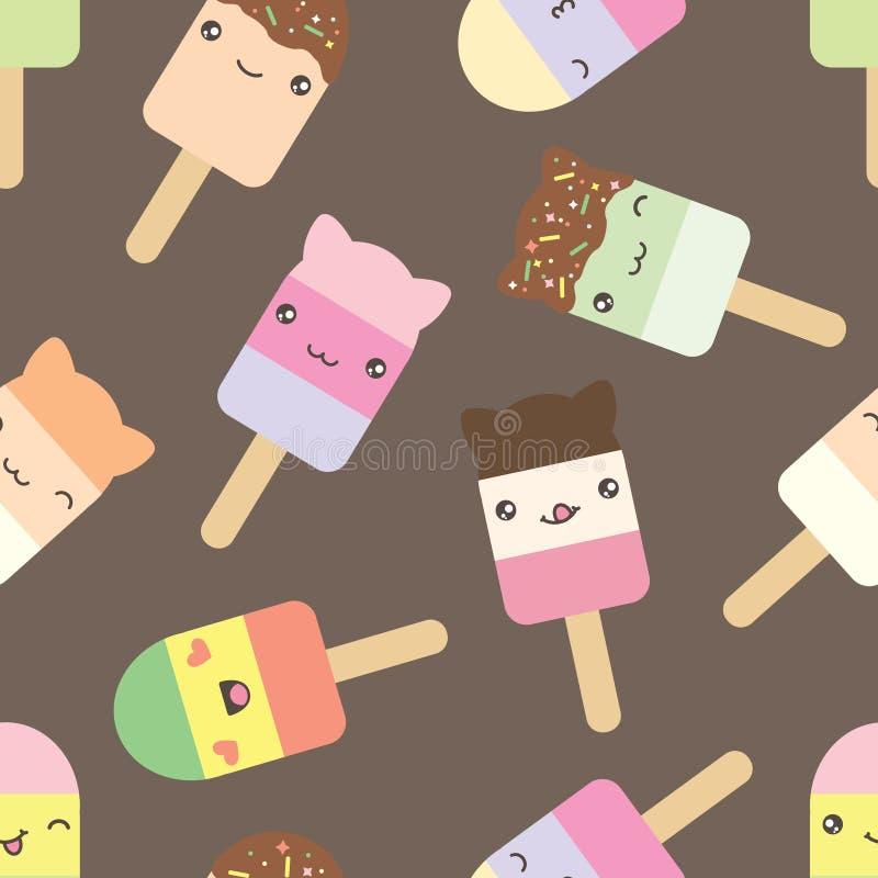 Modelo inconsútil del helado lindo del estilo del kawaii ilustración del vector