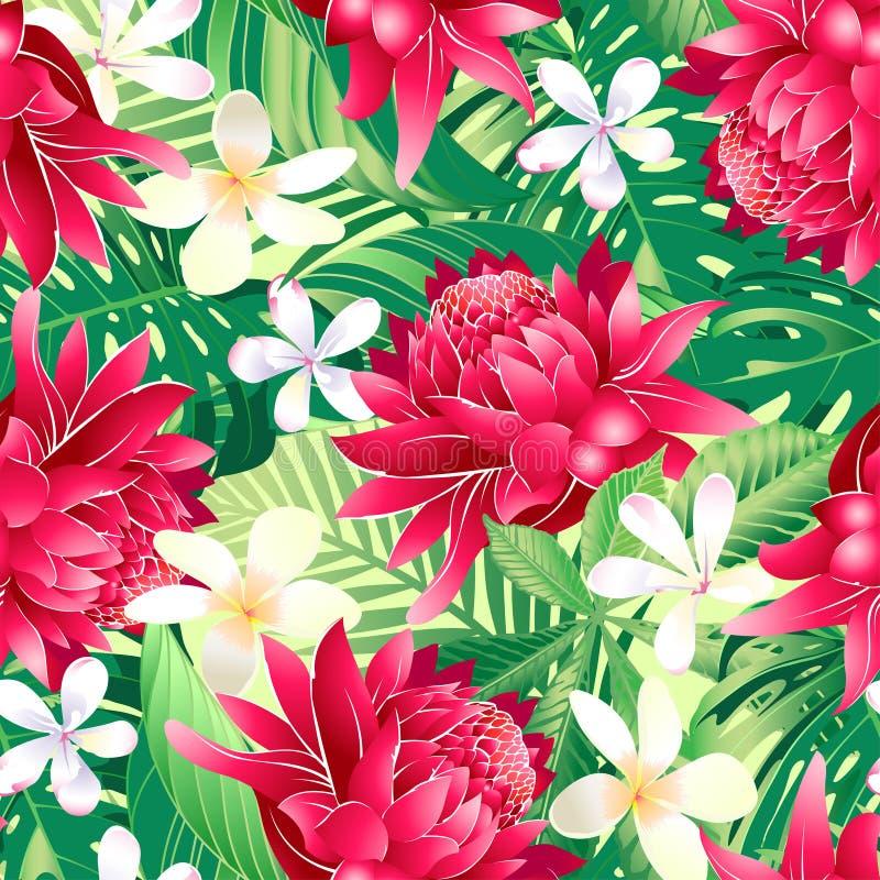 Modelo inconsútil del hibisco 7 florales tropicales ilustración del vector