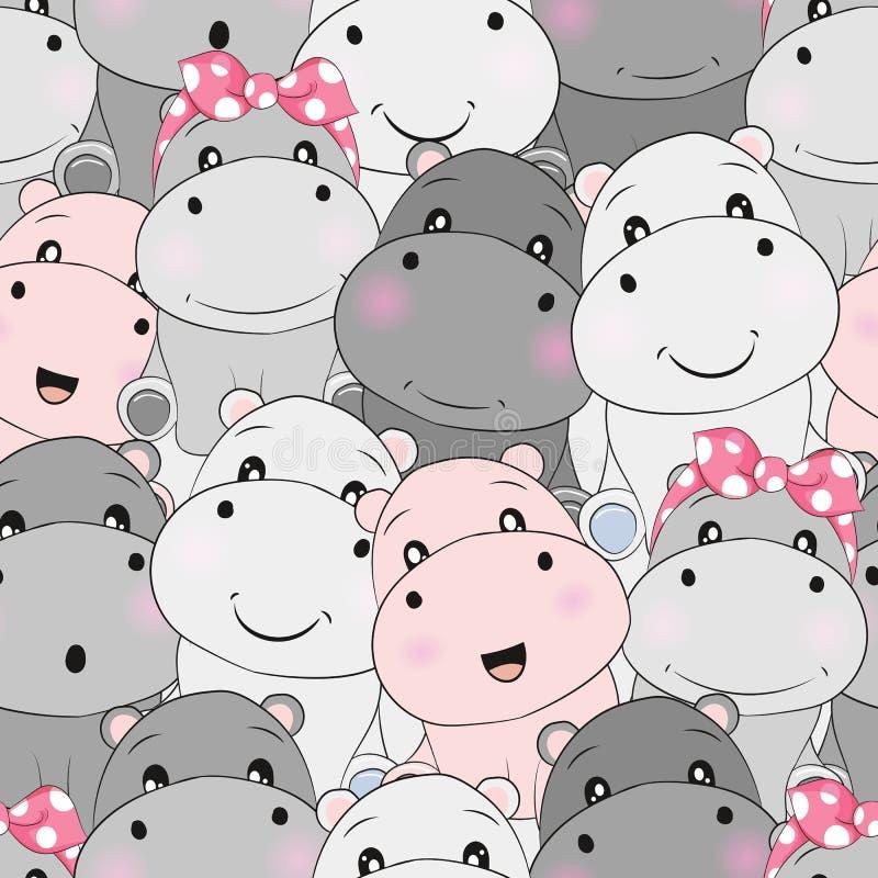 Modelo inconsútil del hipopótamo lindo del bebé stock de ilustración
