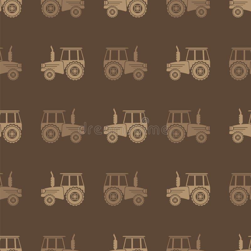 Modelo inconsútil del icono del tractor para la granja ilustración del vector
