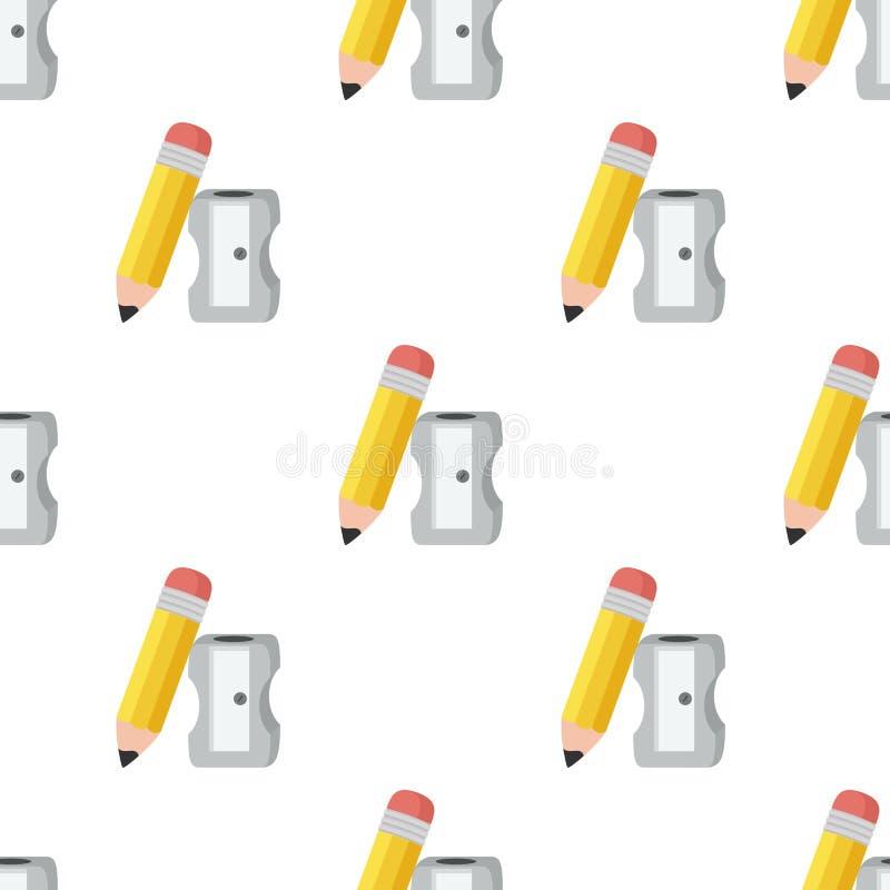 Modelo inconsútil del icono del lápiz y de los sacapuntas stock de ilustración