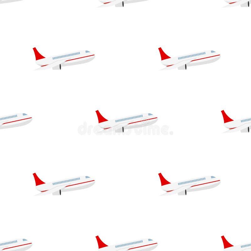 Modelo inconsútil del icono plano del aeroplano ilustración del vector