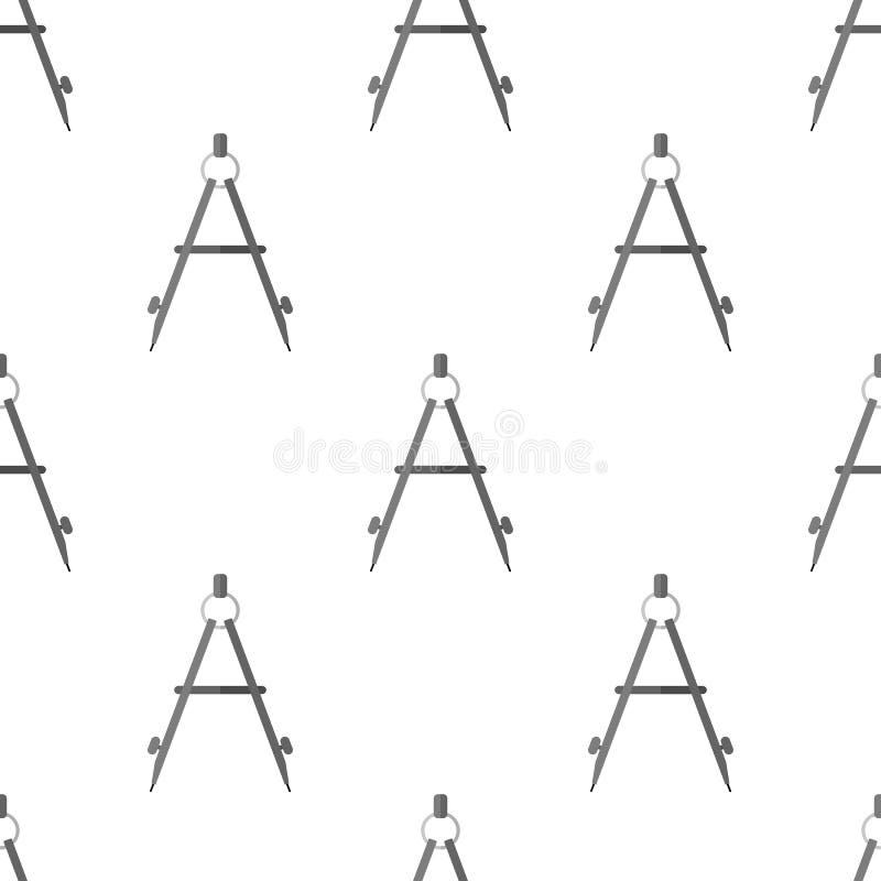 Modelo inconsútil del icono plano del compás de la escuela stock de ilustración
